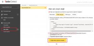 Yandex connect domain doğrulama
